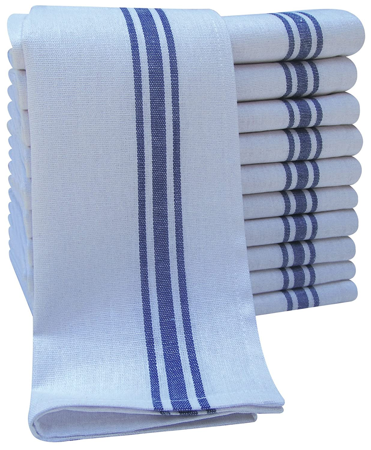Pack of 10 Cotton Catering Tea Towels Restaurant Kitchen Glass Cloths