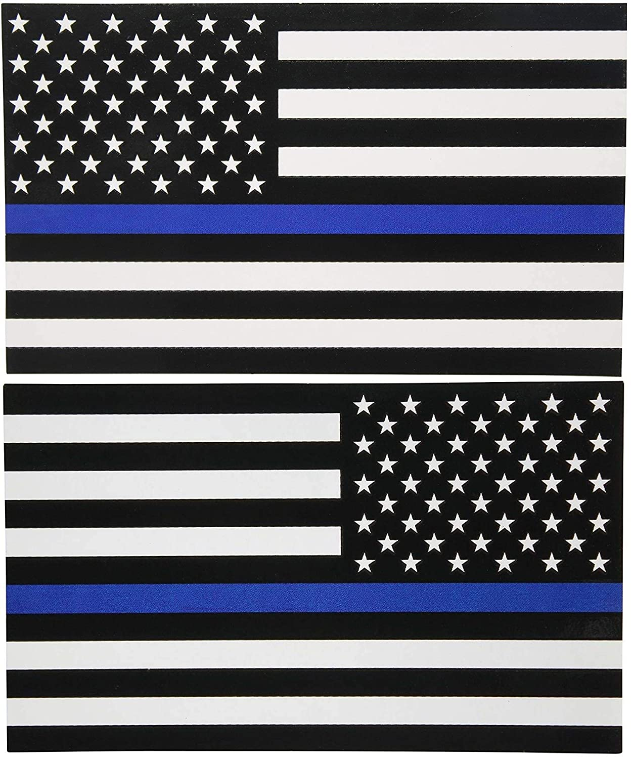 USA Military Rock Metal Heavy Decal Laptop Car Window Door Wall Motorcycle Helmet Set size 3 x 5inch Sticker American Flag Subdued Thin Blue Line Left-Right