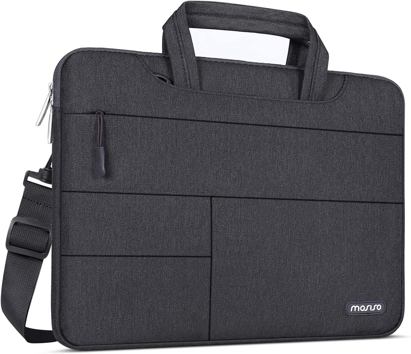 MOSISO Laptop Shoulder Bag Compatible with 13-13.3 inch MacBook Pro, MacBook Air, Notebook Computer, Polyester Briefcase Sleeve with Front Storage Pockets, Space Gray