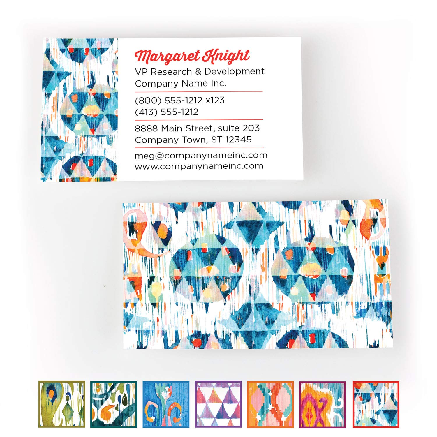 Buttonsmith Custom Premium Printed Business Cards - 3.5''x2'' - Quantity 500 - Double-Sided, 110 lb Smooth Touch - Ikat - Made in The USA by Buttonsmith