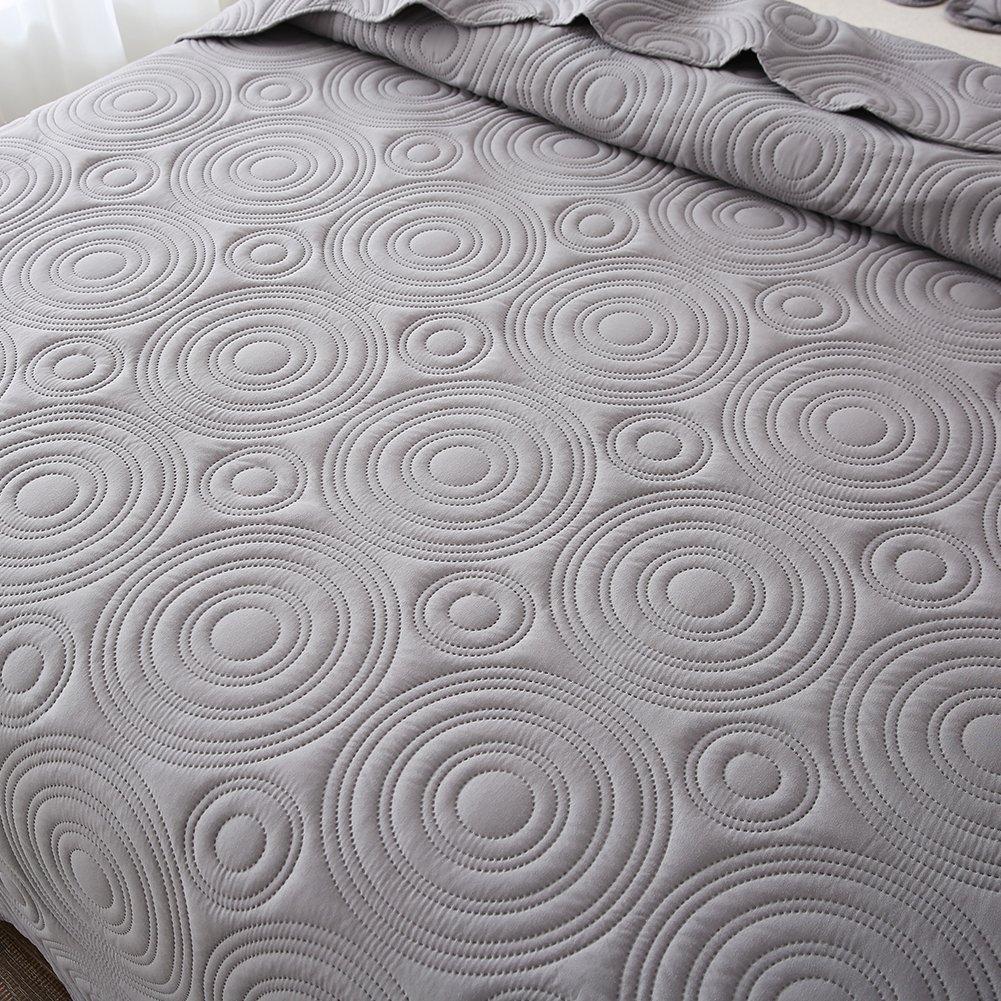NEWLAKE Microfiber Lightweight 3 Piece Bedspread Coverlet Set,Embossed Wavelet Pattern, Queen Size by NEWLAKE (Image #5)