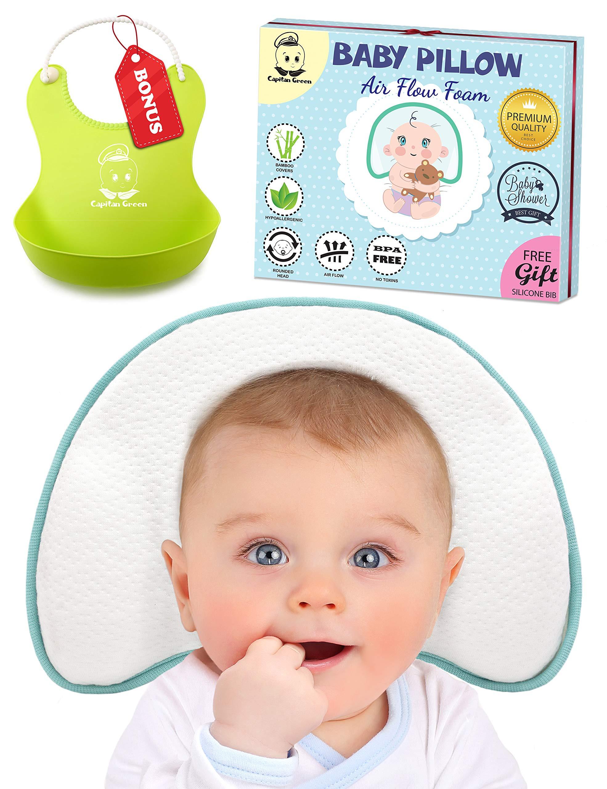 Infant Baby Flat Head Pillow | Sleeping Memory Foam Cushion for Newborn — Head Shaping & Correcting Flat Spot Syndrome | 2 Luxurious Bamboo Pillowcases & Bonus Bibs Included by Capitan Green