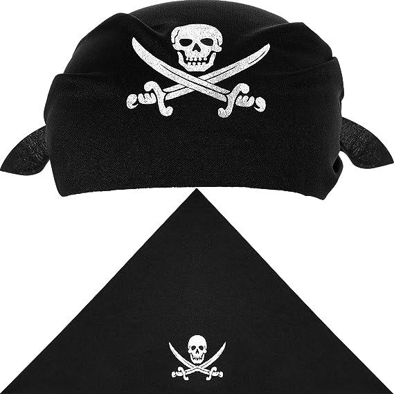 Gorro de capitán pirata para fiestas, 12 Piezas de pañuelo.