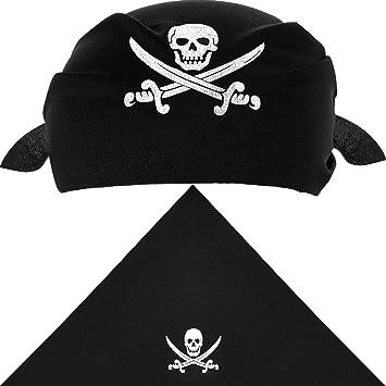 12 Piezas de Pañuelo de Pirata Braga de Cabeza de Capitán Pirata Negra para  Fiesta Temática 8fe5a722c25