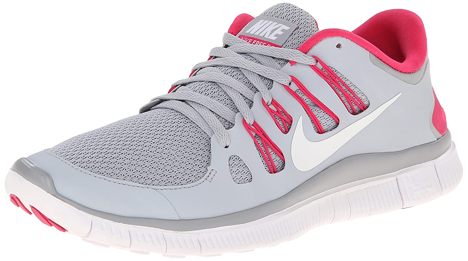 Nike Lady Free 5.0+ Running Shoes B0178LW376 7 B(M) US|Wolf Grey/Pink Force/White