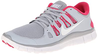 "7ad2783fd9 Nike Womens Wolf Grey Vivid Pink and White Free 5.0 Running Shoes  (size""9.5"