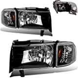 SPPC Crystal Headlights Black Assembly Set with Corner Light for Dodge Ram - (Pair) Includes Driver Left and Passenger Right Side Replacement Headlamp
