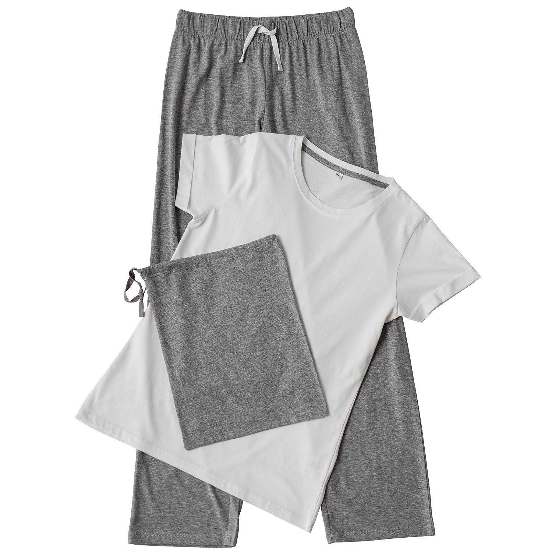 Towel City - Conjunto de pijama de pantalón largo y camiseta de manga corta para mujer