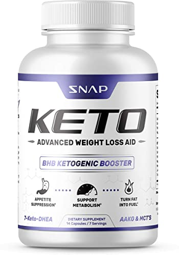 Keto Weight Loss Aid by Snap Supplements – Ketogenic Ketosis Diet Supplement – Suppresses Appetite, Supports Metabolism, Turn Fat into Fuel Keto, 14 Capsules