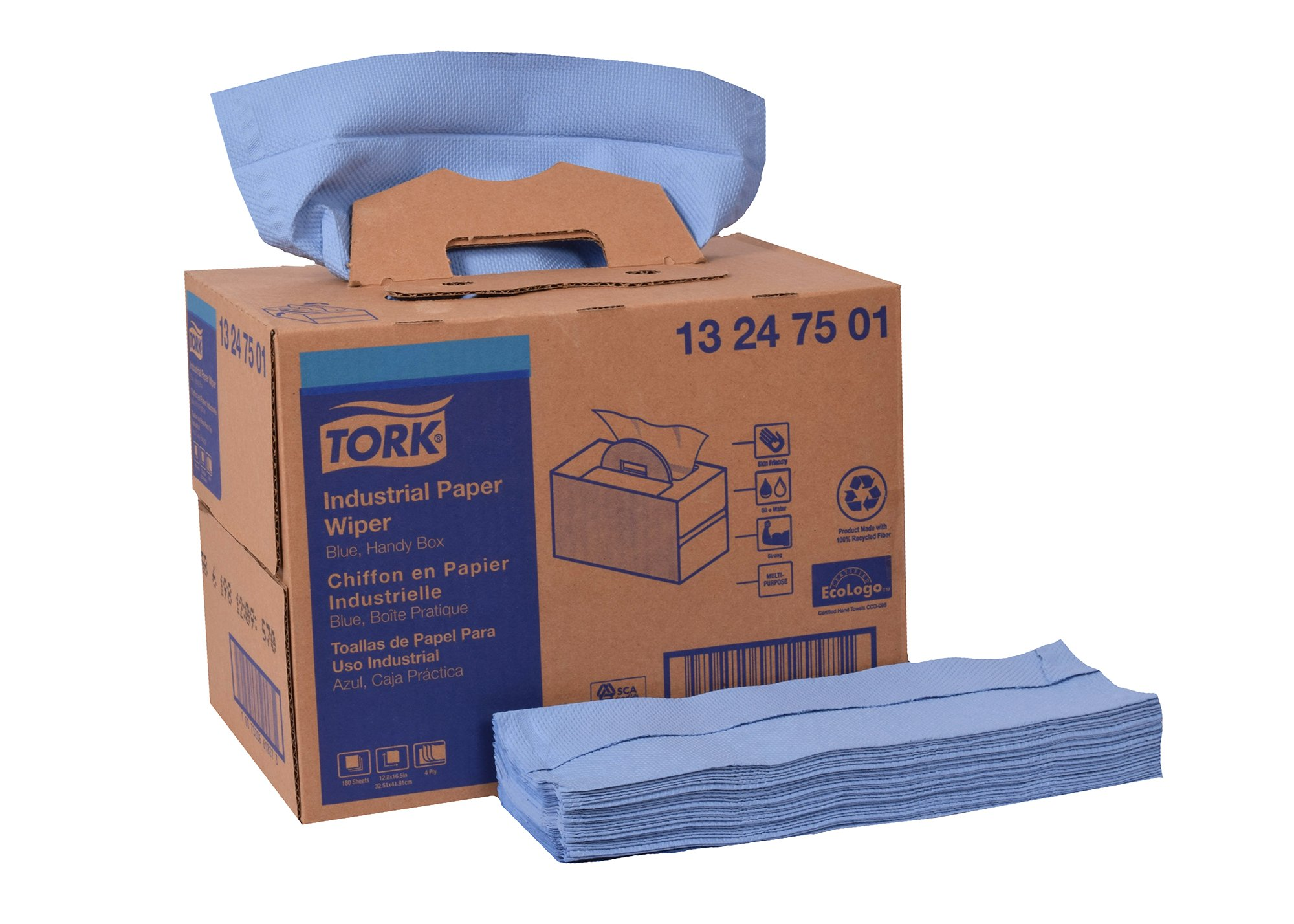 Tork 13247501 Industrial Paper Wiper, Handy Box, 4-Ply, 12.8'' Width x 16.5'' Length, Blue (Case of 1 Box, 180 Towels) by Tork