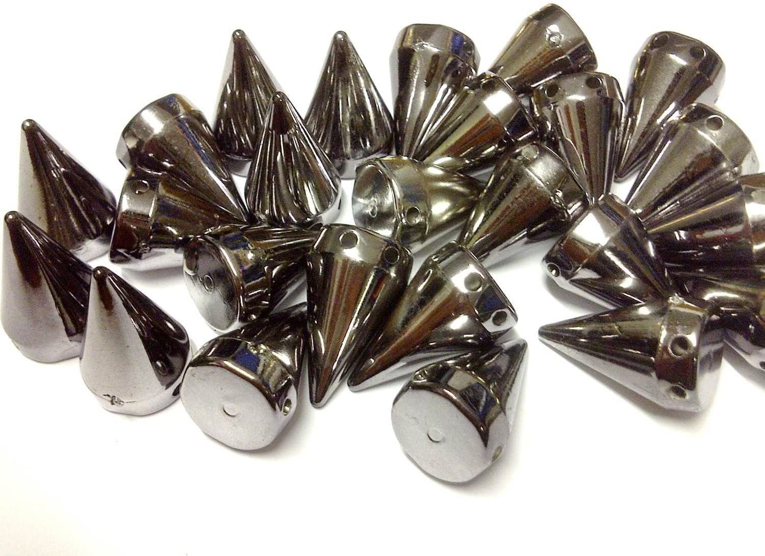 stick on Embellishments stitch on 50pcs 15mm GOLD Acrylic CONE SPIKES sew on