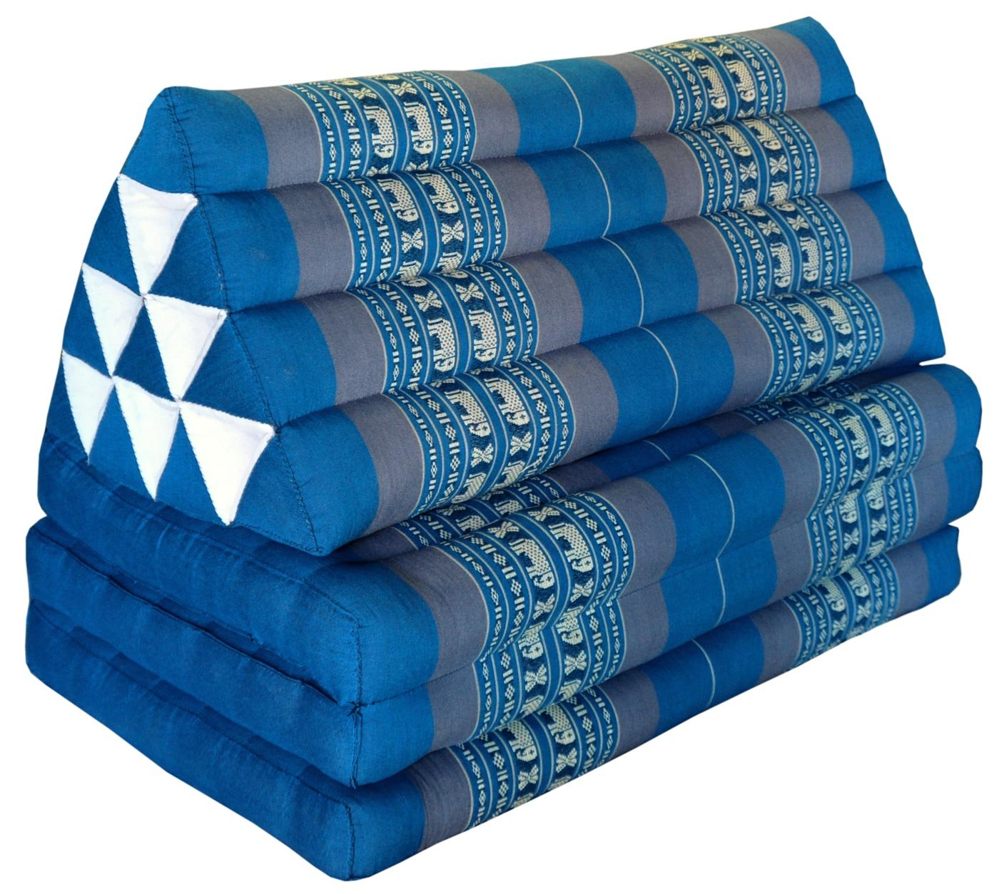 Thai triangle cushion/mattress XXL, with 3 folding seats, blue/grey, sofa, relaxation, beach, pool, meditation, yoga, made in Thailand. (81718) by Wilai GmbH