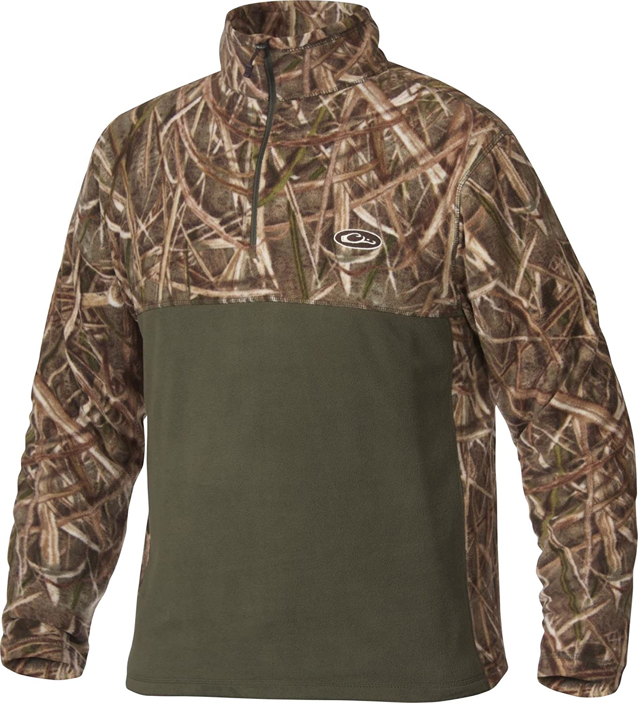 3c08028a69f79 Amazon.com : Drake Waterfowl Men's MST Two-Tone Camo Camp Fleece Quarter-Zip  Pullover : Clothing