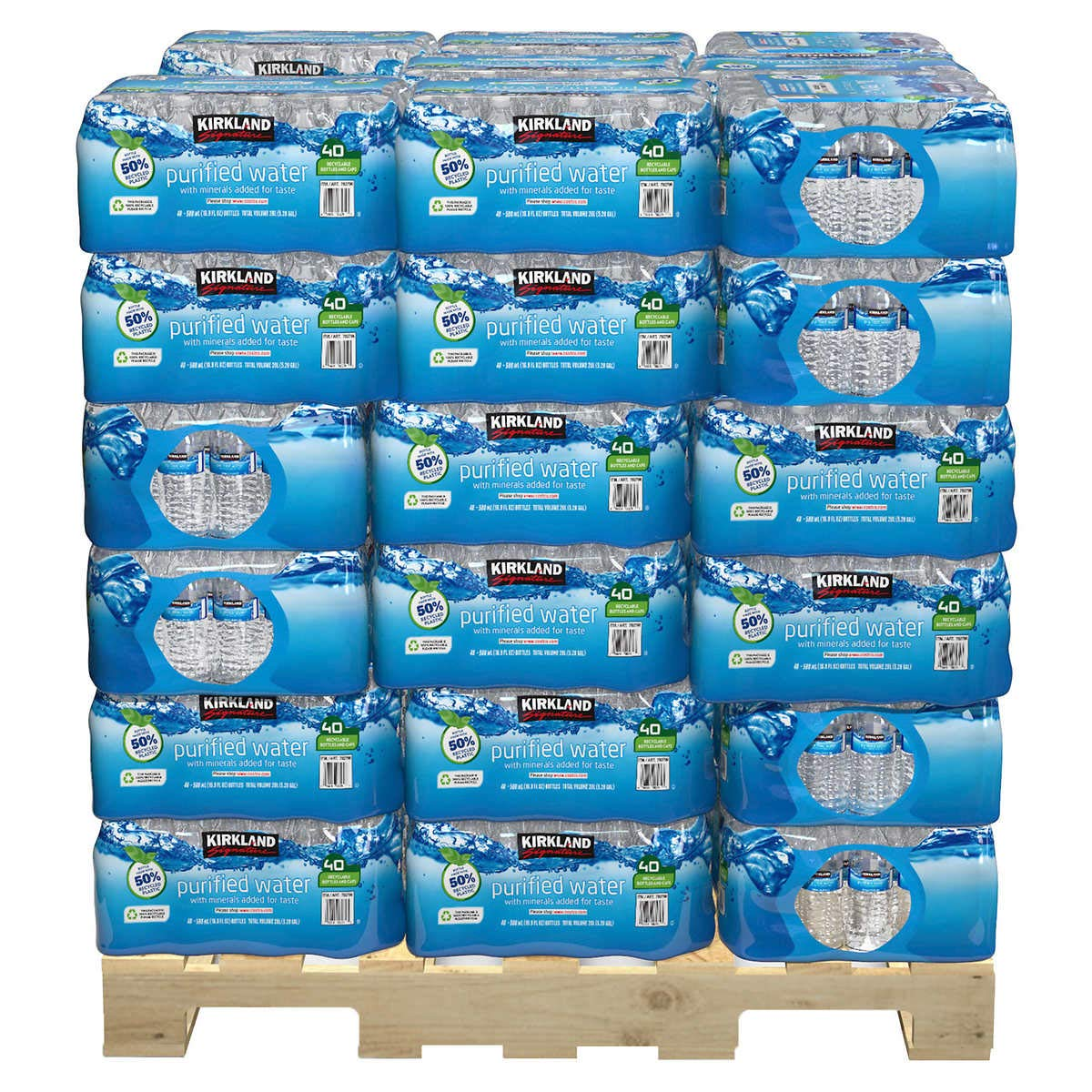 Kirkland Signature Purified Drinking Water, 16.9 Ounce 40 Bottles, 48 Cases / Pallet