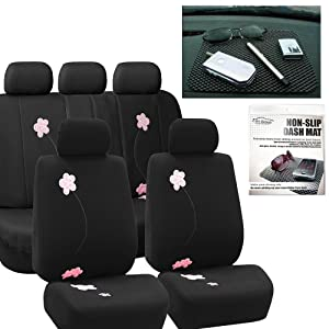 FH GROUP FH-FB053115 Floral Embroidery Design Full Set Car Seat Covers Black Color, Airbag compatible and Split Bench with FH GROUP FH1002 Non-slip Dash Grip Pad- Fit Most Car, Truck, Suv, or Van