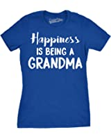 Crazy Dog Tshirts Womens Happiness Is Being a Grandma Tshirt Funny Grandmother Tee For Ladies