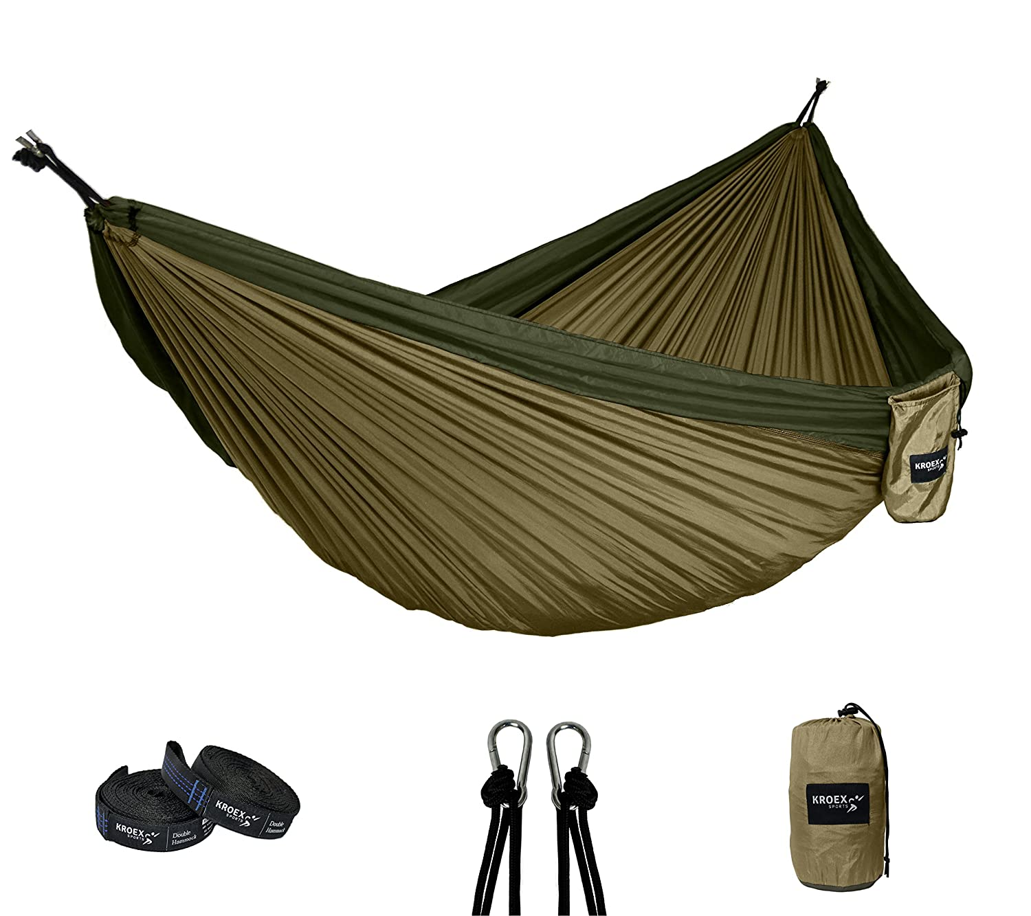 Double Camping Hammock With Tree Straps and Carabiners