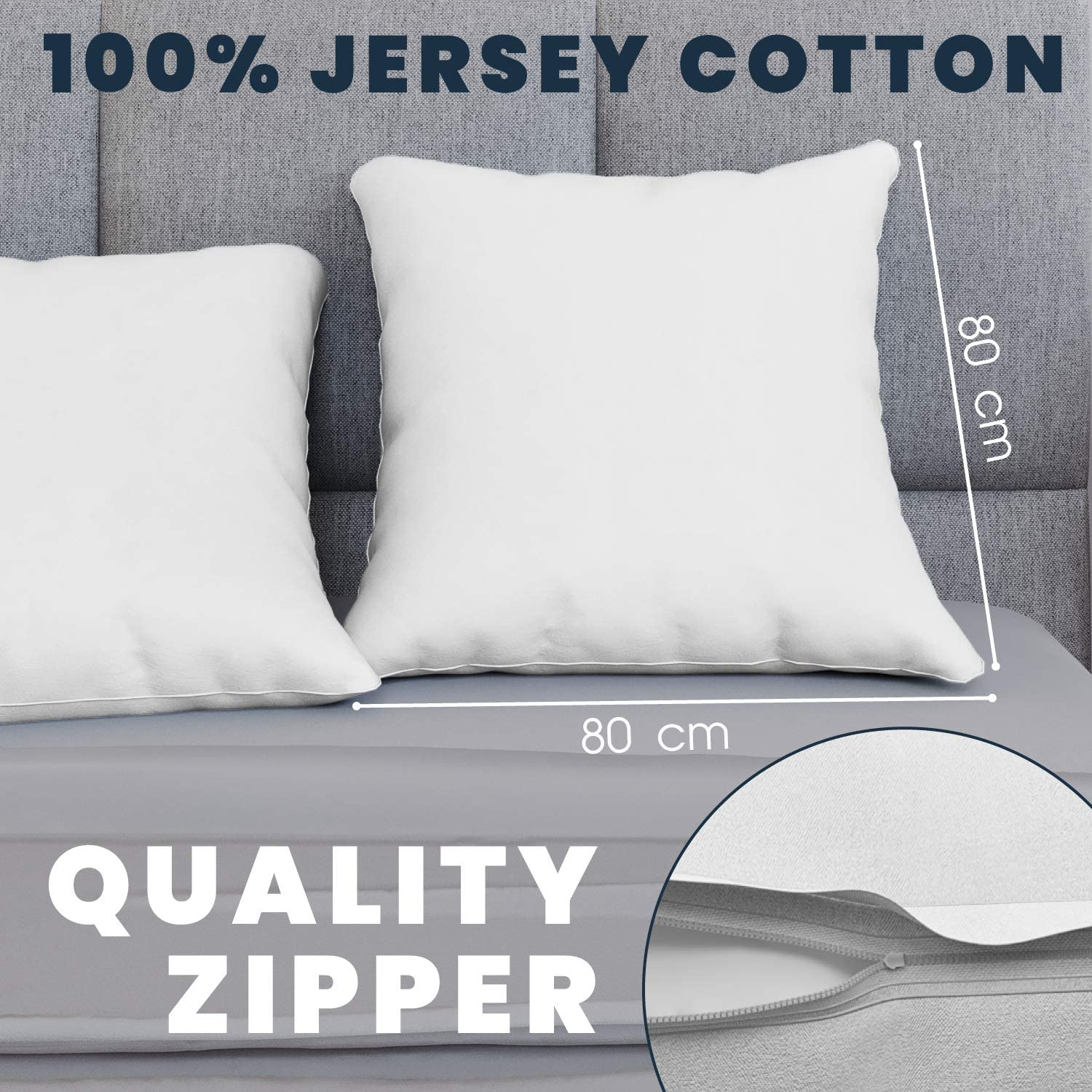 Black Cotton Resistant and Hypoallergenic Pillow Protector Pillow Cases 2 Pack 40 x 40 100/% Jersey Cotton bedding double bed Pillowcase Dreamzie Set of 2 x Pillowcases 40x40 cm