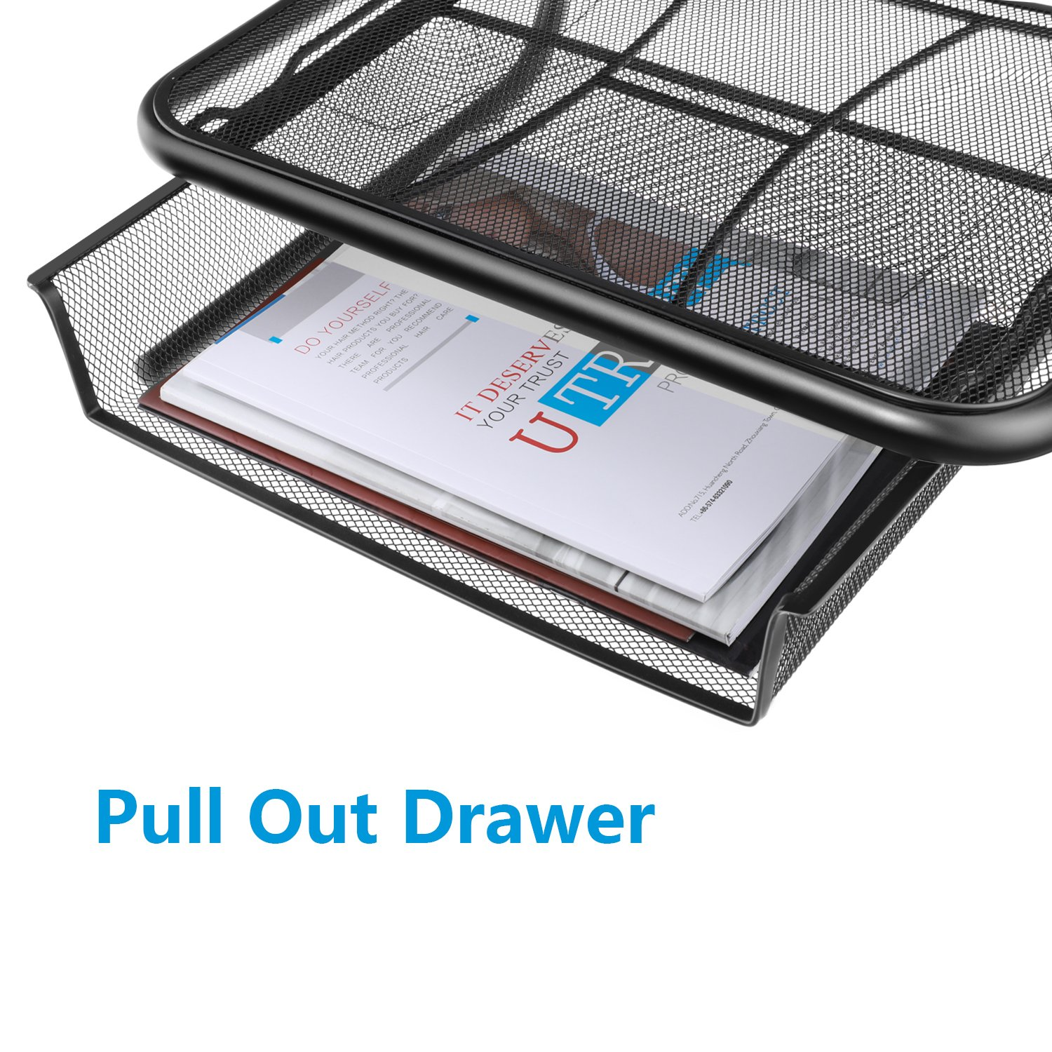 Monitor Stand Riser with Pull Out Storage Drawer - Mesh Metal Printer Holder with Ventilated Surface for Computer, Laptop, Printers - Keeps Your Devices Cool & Prevents Overheating - Premium Computer by HUANUO (Image #4)