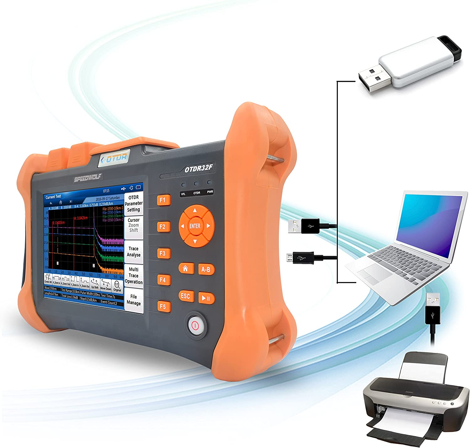 """93mi Optical Light Source Fiber Optic Cable Tester with VFL+ Optical Power Meter SPEEDWOLF 1310//1550nm 37//36dB OTDR 7/"""" Touch Screen 150KM"""