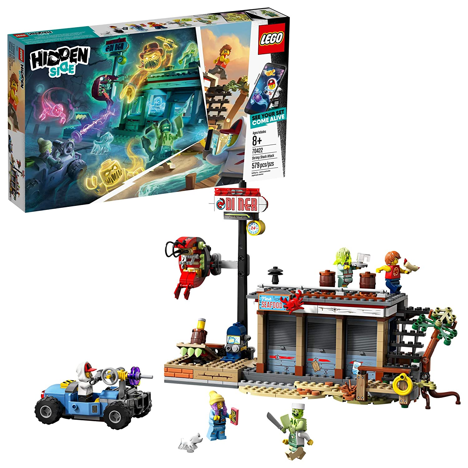 LEGO Hidden Side Shrimp Shack Attack 70422 Augmented Reality [AR] Building Set with Ghost Minifigures and Toy Car for Ghost Hunting, Tech Toy for Boys and Girls (579 Pieces)