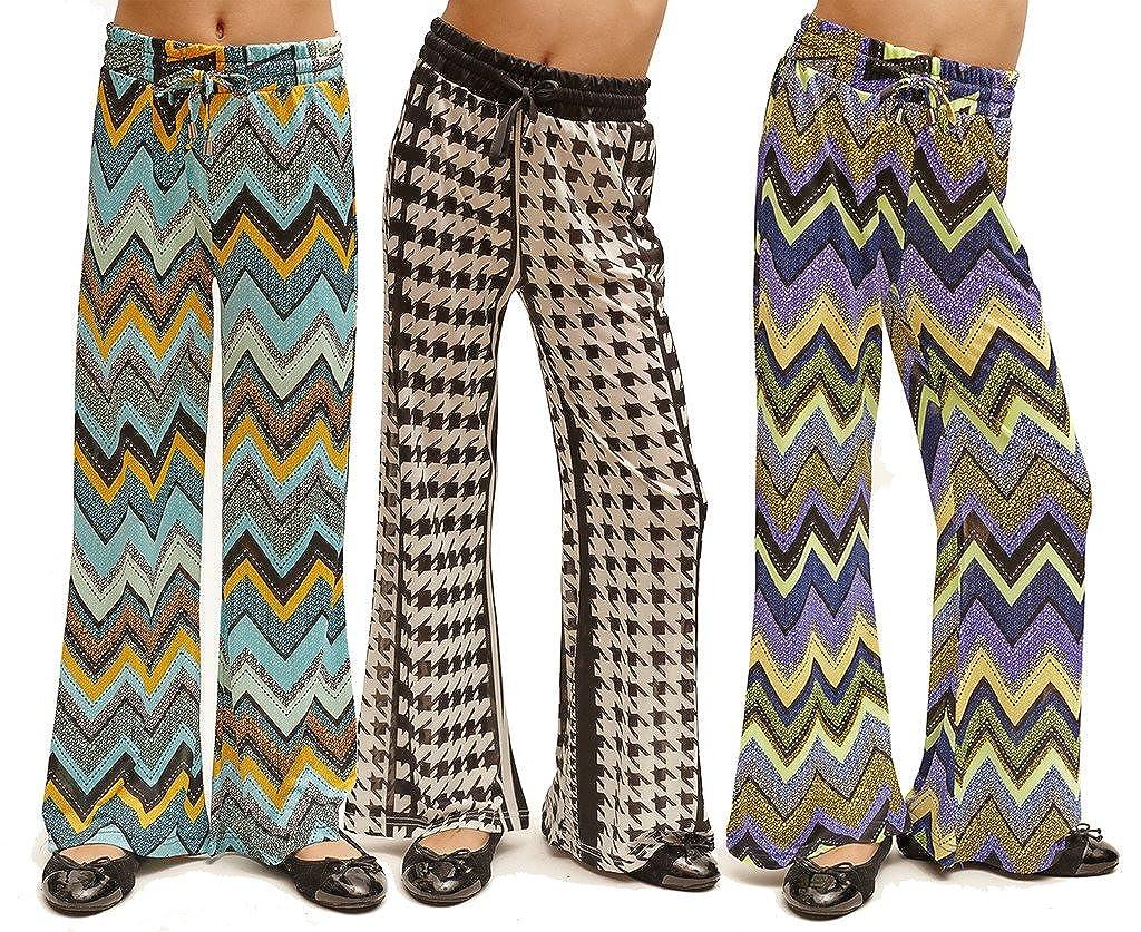 3 Pack Golden Black Big Girls Printed Jersey Palazzo Pants CAPLZ3PKJunior-pp