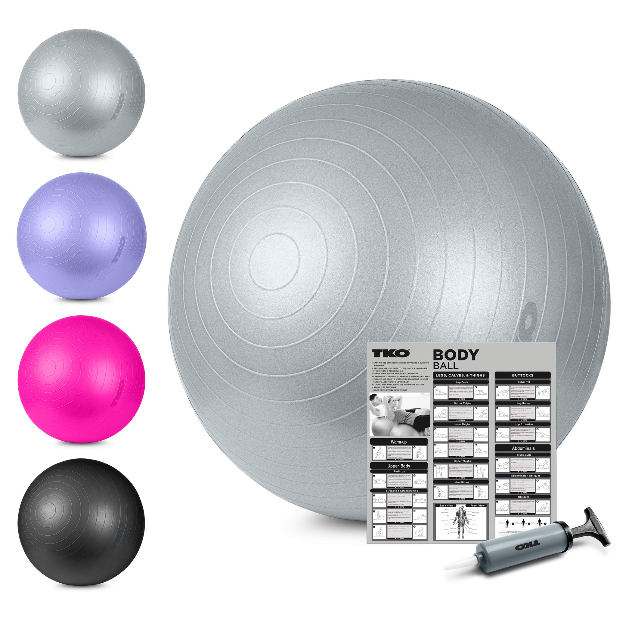 TKO Stability Exercise Ball - Multiple Sizes- for Stability, Fitness, Office, Balance & Yoga- Workout Guide & Pump Included- Anti Burst- Professional Quality (Grey, 65 cm)