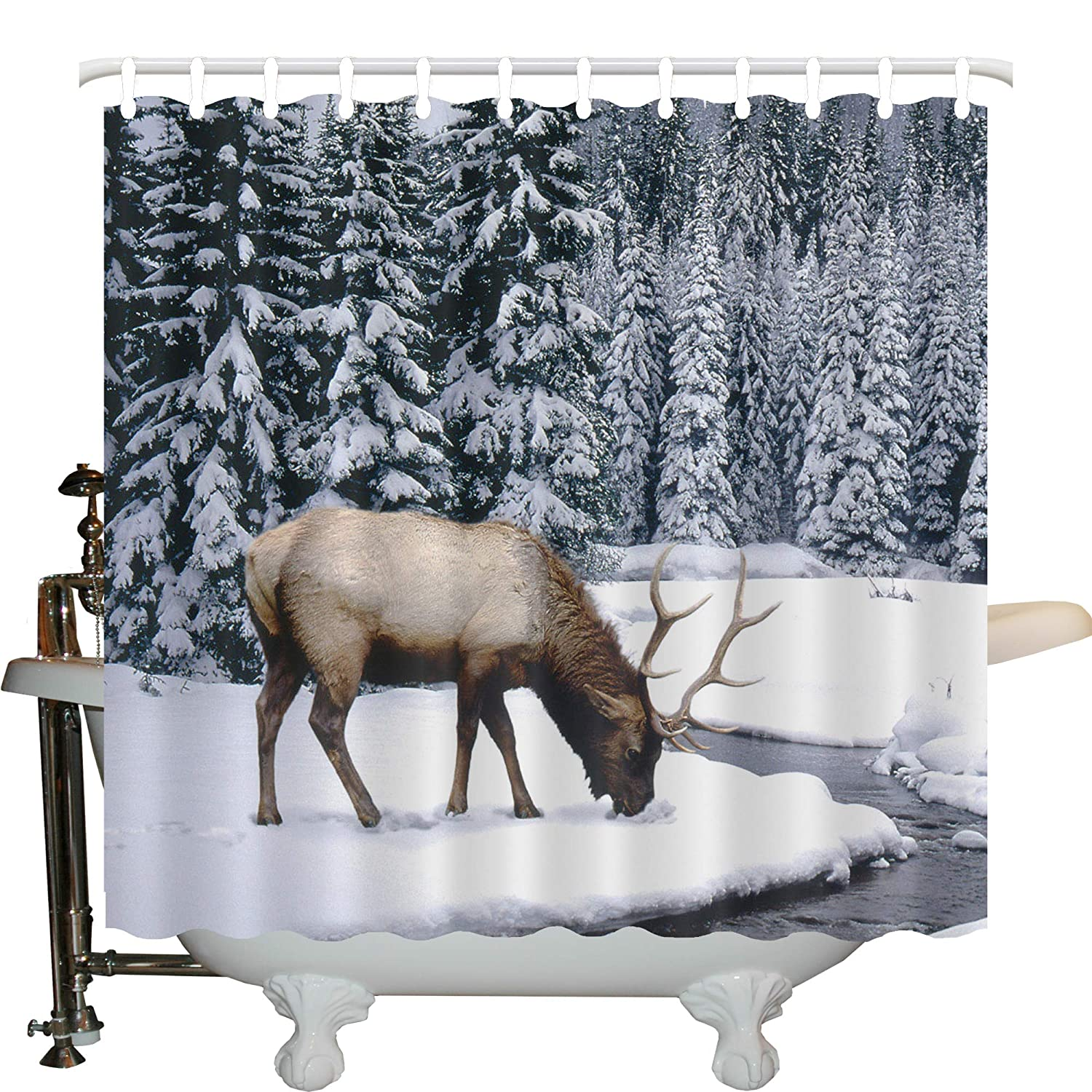 JLBB Moose Shower Curtain Set By Pine Needles Spruce Tree With Antlers Deer Family Snow Winter Design Horns Fabric Bathroom Decor Hooks