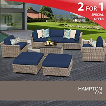 Amazon.com: Hampton 8 Piece Outdoor Wicker Patio Furniture Set 08a: Garden  U0026 Outdoor