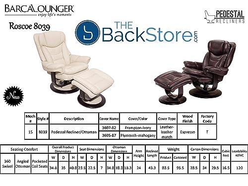 Barcalounger Roscoe 15-8039 Pedestal Chair and Ottoman – Plymouth Mahogany 3605-87