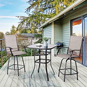 Vongrasig 3 Piece Patio Swivel Bar Set, All Weather Mental Textilene High Swivel Bar Stools Chair Set of 2 and High Glass Bar Table, Outdoor High Top Bistro Set for Lawn Garden, Balcony, Taupe