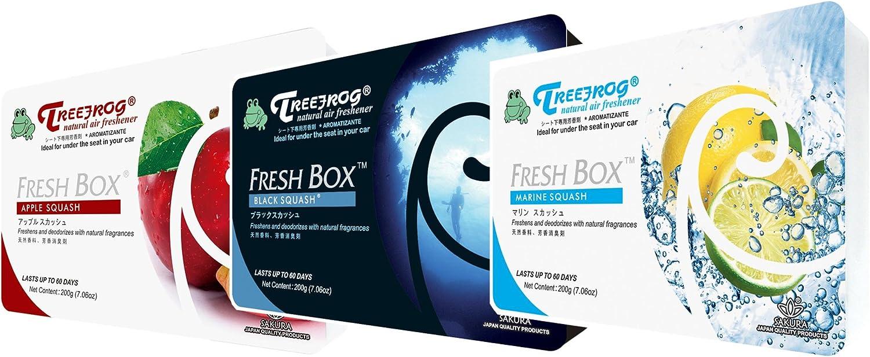 Treefrog Fresh Box 3 Packs Squash Scent Assorted Car Air Freshener, Tree Frog Apple Squash, Black Squash, Marine Squash Scent (Great Deals and Perfect Squash Gift)