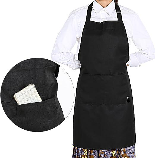 GWHOLE Delantal Cocina Impermeables con 2 Bolsillos Negro: Amazon ...