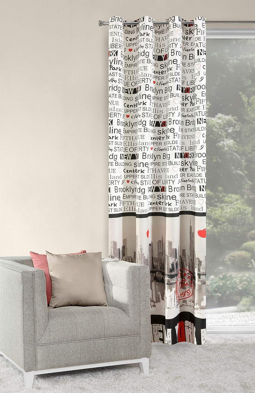 Rideau /à oeillets 140/x 250/cm MANHATTAN 1/avec motif New York salon moderne Opaque 60/%