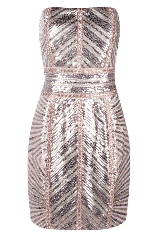 Boohoo Womens Premium Kyra Chevron Sequin Bandeau Dress In Blush Size 10