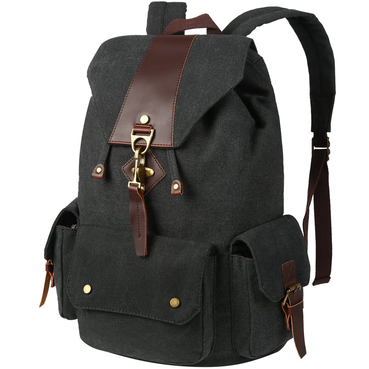 2c8804b4e0f Amazon.com   VBG VBIGER Canvas Backpack Vintage Canvas Leather Backpack  Casual Bookbag Laptop Backpacks Travel Rucksack for Men Women   Kids   Backpacks