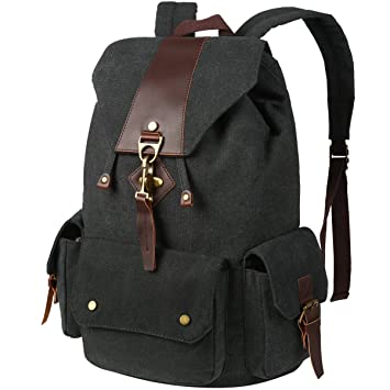 e07ad090332 Amazon.com   VBG VBIGER Canvas Backpack Vintage Canvas Leather Backpack  Casual Bookbag Laptop Backpacks Travel Rucksack for Men Women   Kids   Backpacks