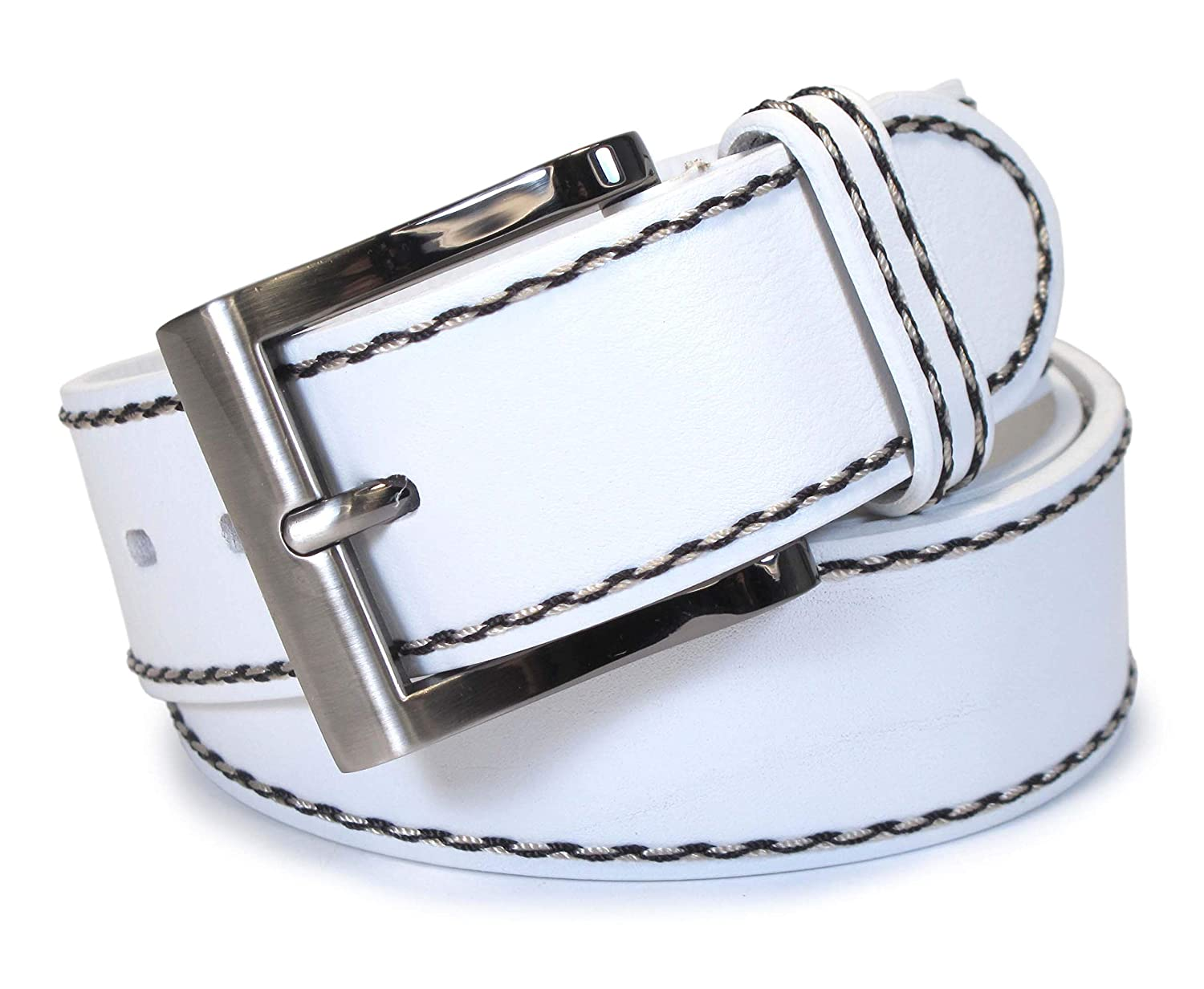 CM5 Mens Real Genuine Leather White Belt 1.5 Wide S-XL Thick Long Casual Jeans