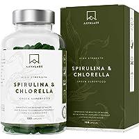 Gélules de Spiruline Chlorella [ 1800 mg ] - 180 Gélules - Complément Alimentaire Musculation - Parfait pour Smoothies et Jus - 100% Végétalien et Sans Gluten - Fabriqué en Europe