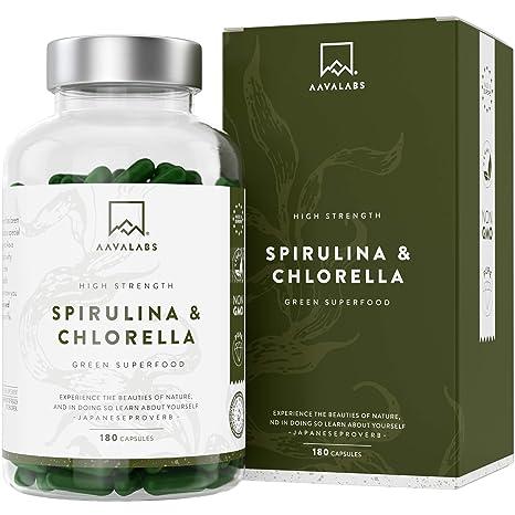 Cápsulas de Espirulina y Chlorella [1800 mg/Dosis Diaria] 180 Comprimidos - Fuente