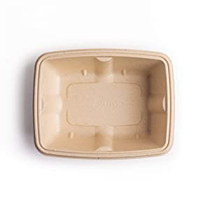 Zume Premium Compostable, Ecofriendly, Leak Proof, Disposable, 22 oz/650ml Small Rectangular Container, Natural (Pack of 100)