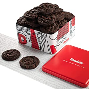 David's Cookies - 24 Fresh Baked Double Chocolate Chunk Cookie Gourmet Gift Basket - Christmas, Holiday & Corporate Food Tin - Idea For Men & Women - Certified Kosher - 2 lbs