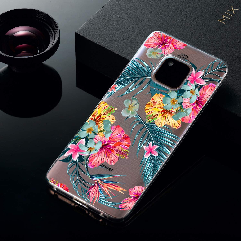 Ostop Coque pour Huawei Mate 20 Pro,Imprim/é R/étro Fleur Dentelle Cristal /Étui TPU Souple Flexible Housse Panneau Transparent Antichoc pour Hommes Gar/çons Huawei Mate 20 Pro,Mandala Translucide