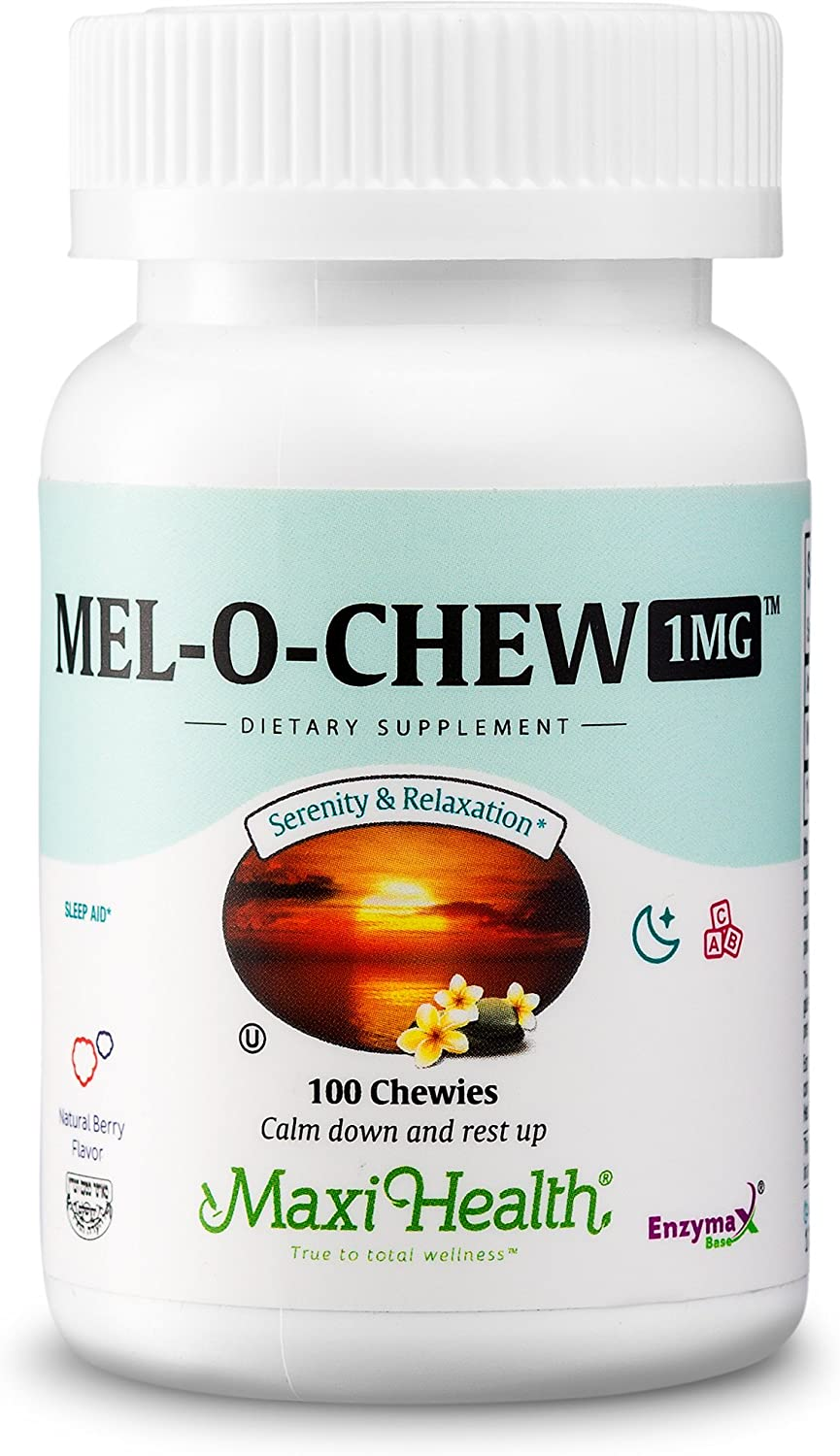 Mel-O-Chew Melatonin for Kids – 1mg Chewable Sleep Aid Tablets - Natural Supplement for Children And Adults - Helps Fall Asleep Faster And Stay Sleeping Longer – 100 Count