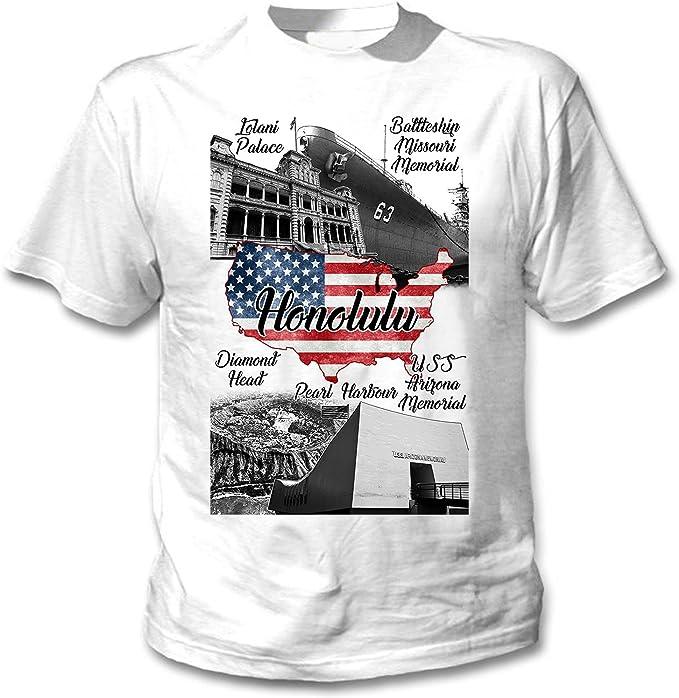 teesquare1st Honolulu USA Camiseta Blanca para Hombre de Algodon ...