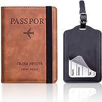 MELLIEX Funda Pasaporte Piel y Etiquetas de Equipaje, RFID Bloqueo Passport Holder Marrón Cartera de Pasaporte para…