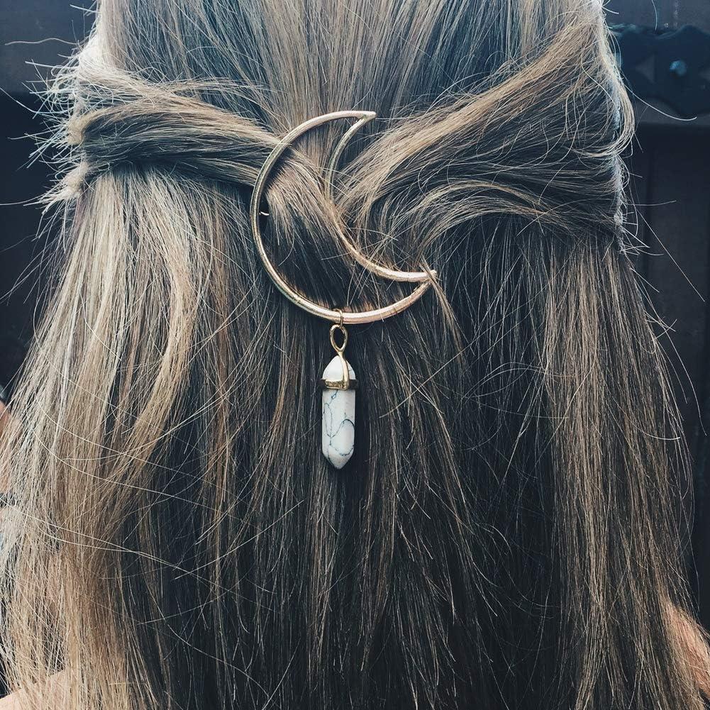 vap26 Barrettes /à Cheveux en Forme de Croissant de Lune hexagonale en Pierre Naturelle pour Femme 2# Voir Image