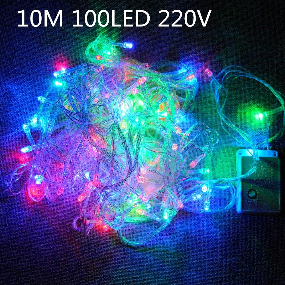 LUCES GUIRNALDA FIESTA ÁRBOL NAVIDAD LED 10 METROS CORDÓN (MULTICOLOR/RGB) [Clase de eficiencia energética A] Destello S.L.