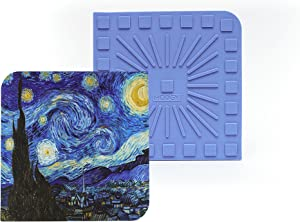 Modgy Silicone Trivet Artist Series-Van Gogh-Starry Night, Durable, Easy to Clean, Heat Resistant, Non-Slip, Heat Releasing Grooved Bottom, Use it as a Hot Pad, Coaster or Utensil Rest