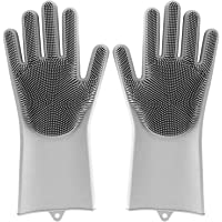 MojiDecor Brosse de nettoyage en silicone, gants magiques résistants à la chaleur et imperméables, nettoyage antibactérien, gants pour nettoyage, ménage et lave-vaisselle, gris
